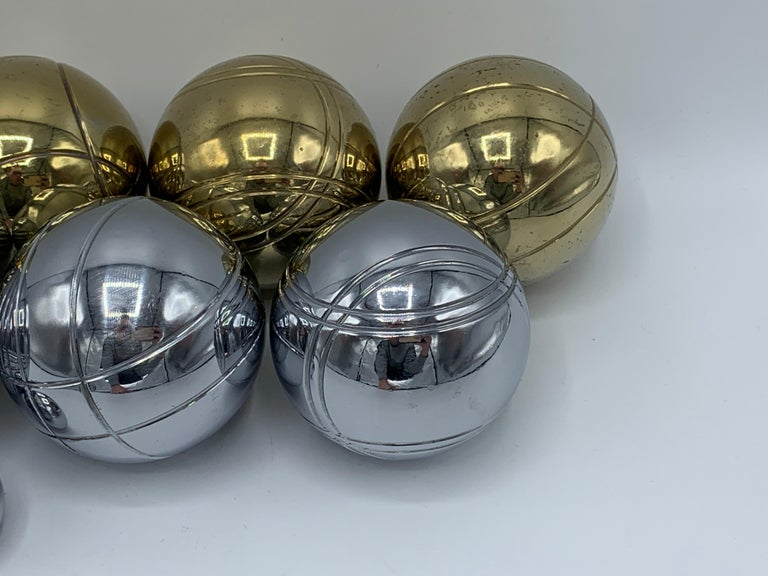1960s Italian Brass and Chrome Bocce Ball Set, 9 Pieces In Good Condition In Richmond, VA