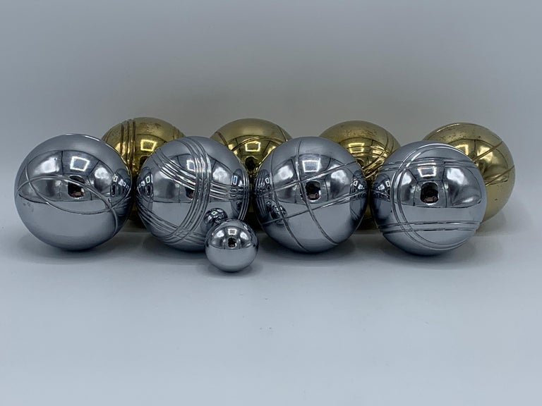 20th Century 1960s Italian Brass and Chrome Bocce Ball Set, 9 Pieces