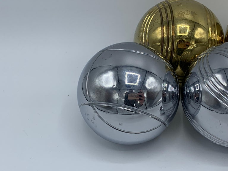1960s Italian Brass and Chrome Bocce Ball Set, 9 Pieces 1
