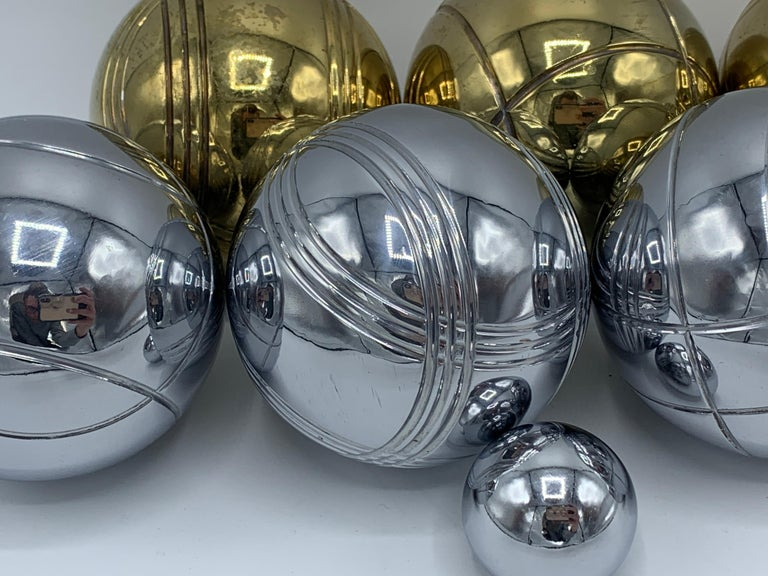 1960s Italian Brass and Chrome Bocce Ball Set, 9 Pieces 2