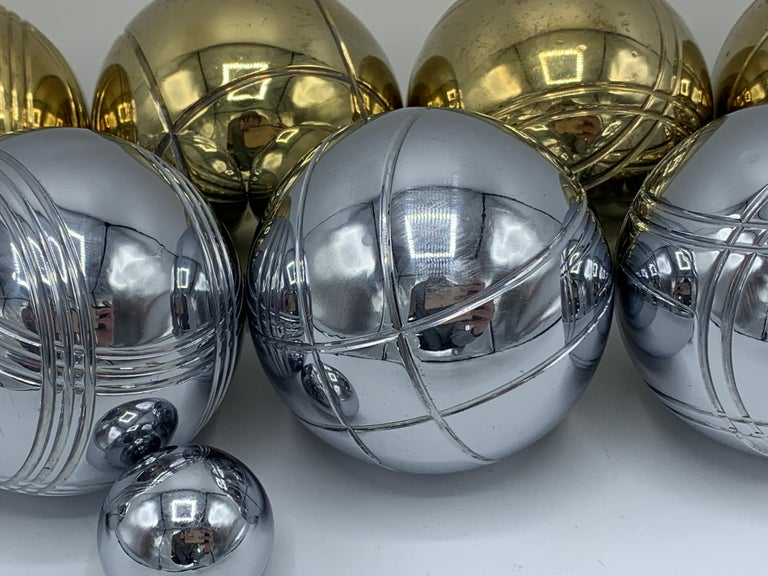 1960s Italian Brass and Chrome Bocce Ball Set, 9 Pieces 3