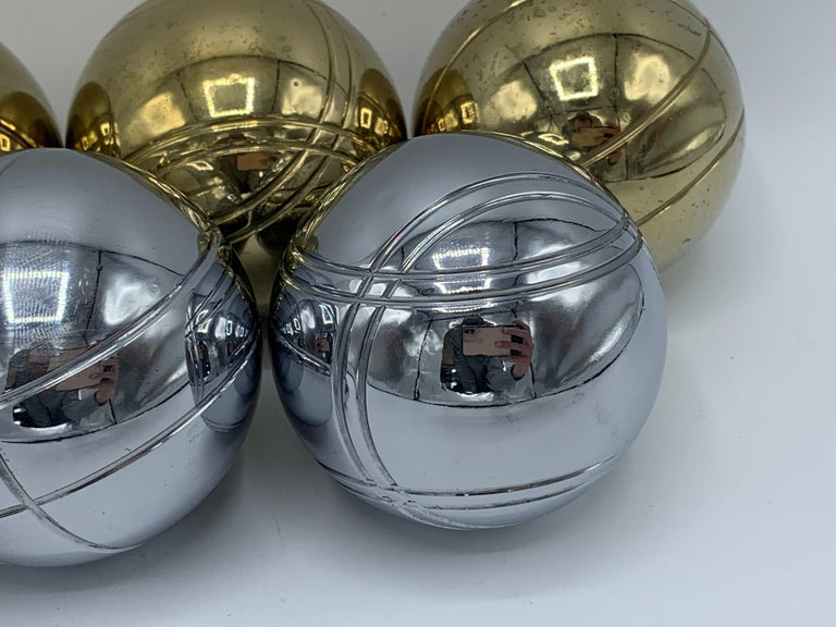 1960s Italian Brass and Chrome Bocce Ball Set, 9 Pieces 4