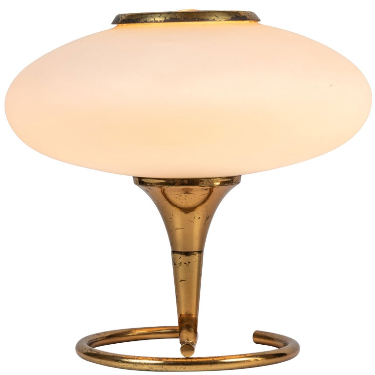 1960s Italian Brass and Glass Table Lamp Attributed to Stilnovo For Sale