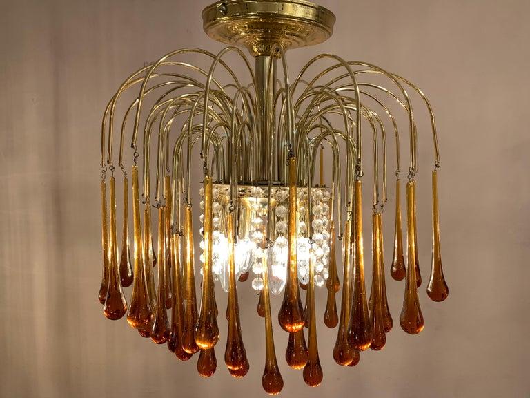 Mid-Century Modern 1960s Italian Brass and Murano Glass Flushmount Chandelier by Paolo Venini