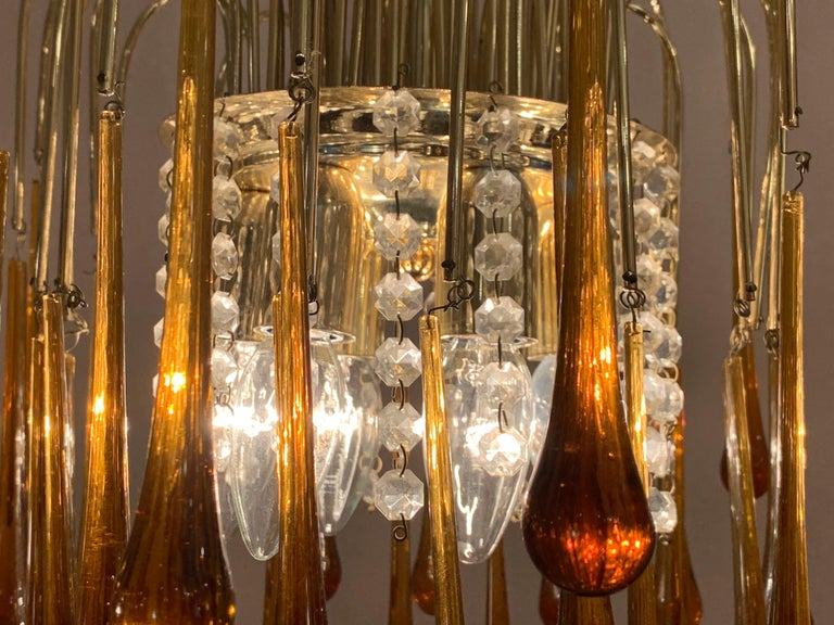 20th Century 1960s Italian Brass and Murano Glass Flushmount Chandelier by Paolo Venini