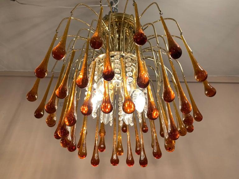 1960s Italian Brass and Murano Glass Flushmount Chandelier by Paolo Venini 2