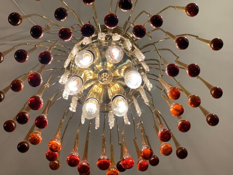 1960s Italian Brass and Murano Glass Flushmount Chandelier by Paolo Venini 3