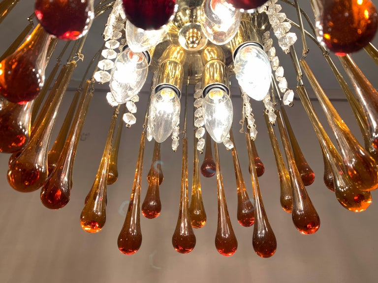 1960s Italian Brass and Murano Glass Flushmount Chandelier by Paolo Venini 4