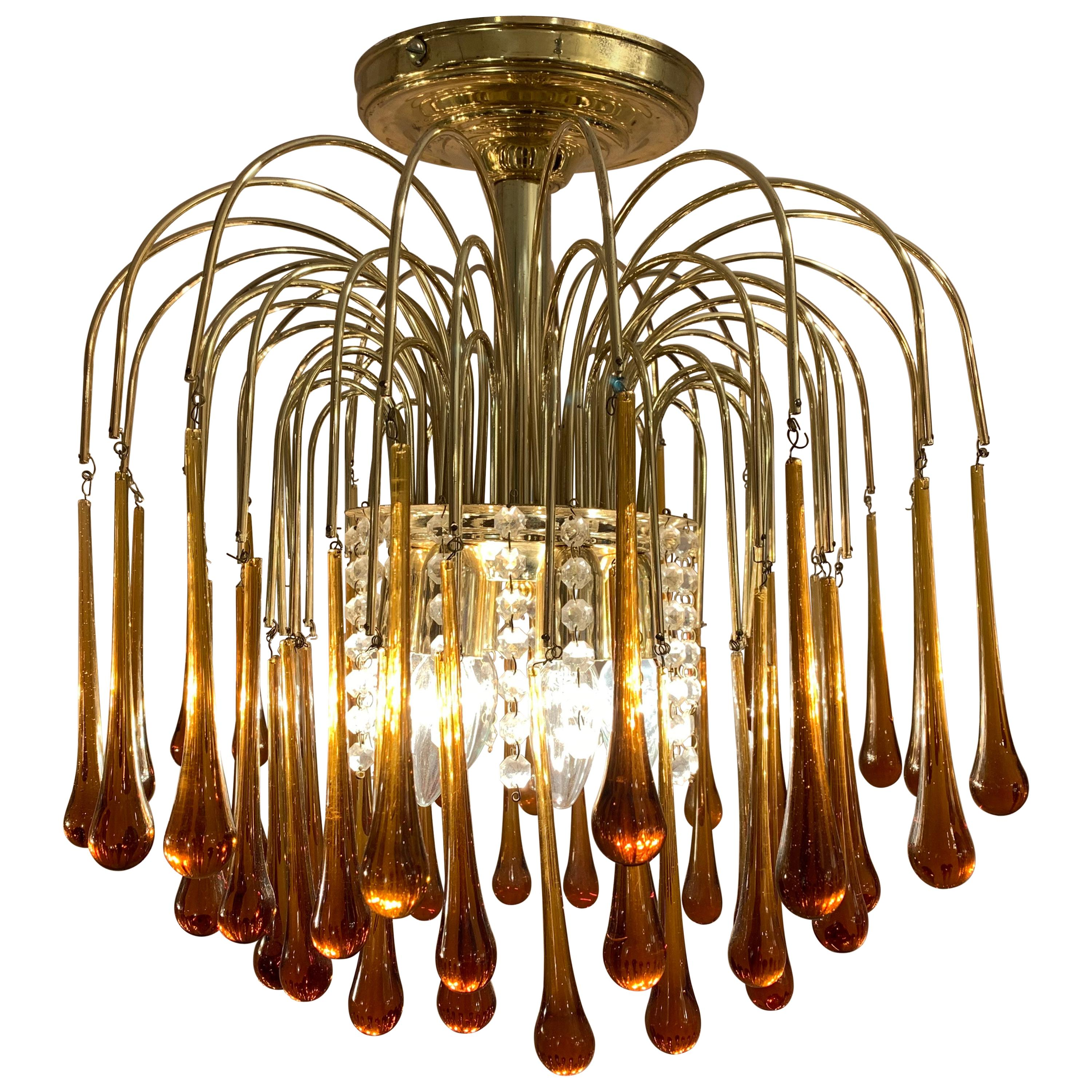 1960s Italian Brass and Murano Glass Flushmount Chandelier by Paolo Venini