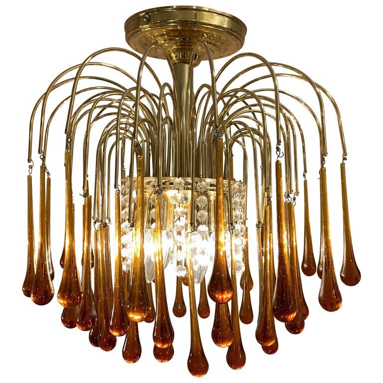 1960s Italian Brass and Murano Glass Flushmount Chandelier by Paolo Venini