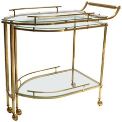 1960s Italian Brass Bar Cart with Swing Out Glass Shelves