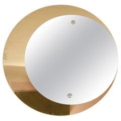 1960s Italian Bronze and Silver Double-Circular Mirror by Cristal Arte