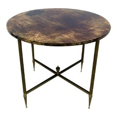 1960s Italian Brown Lacquered Goatskin Table by Aldo Tura