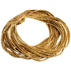 1960s Italian Brushed Gold Multiple Strand Bracelet