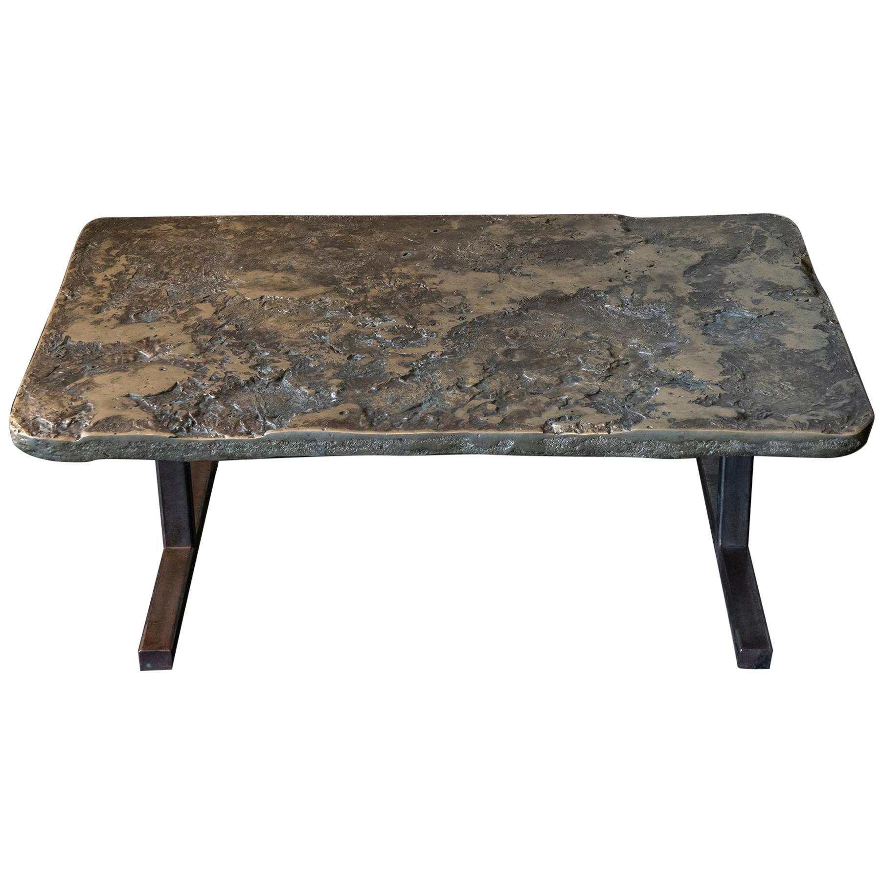 1960s Italian Brutalist Fusion/Brass Rectangular Coffee Table on Steel Base