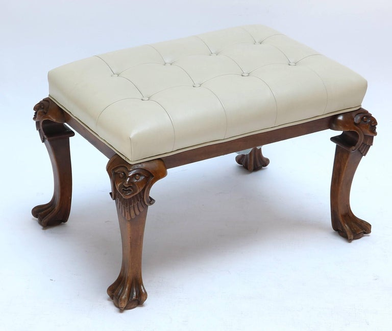 1960s Italian carved wood tufted bench upholstered in beige leather.