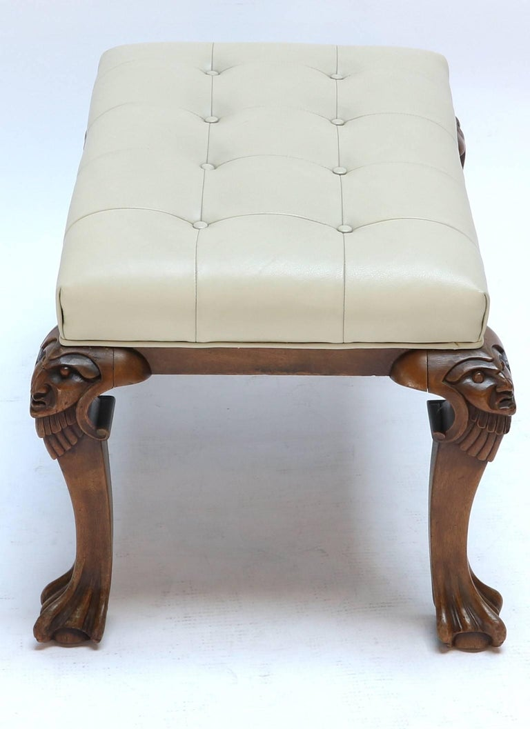 Mid-Century Modern 1960s Italian Carved Wood Tufted Leather Bench For Sale
