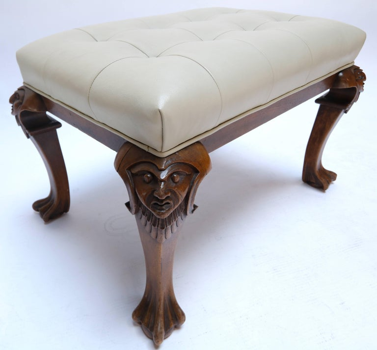 Mid-20th Century 1960s Italian Carved Wood Tufted Leather Bench For Sale