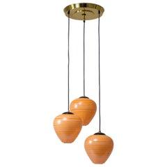 1960s Italian Cascading Chandelier, Orange Striped Glass and Brass
