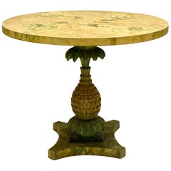 1960s Italian Cast Plaster Pineapple and Faux Marble Center Table