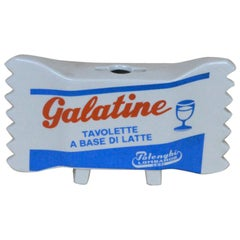 1960s Italian Ceramic Advertising Galatine Milk Candy by Polenghi Lombardo Lodi