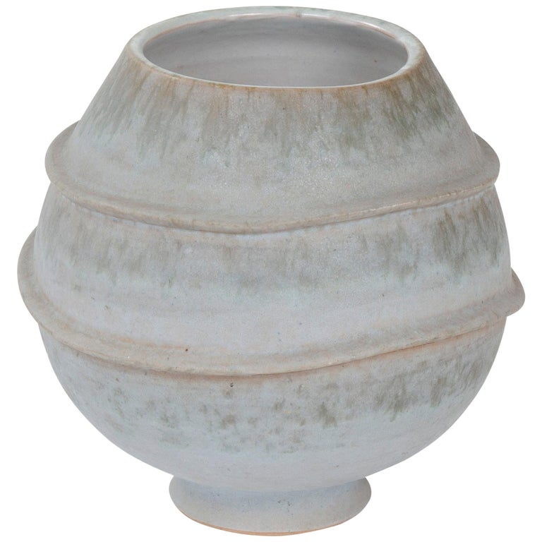 1960s Italian Ceramic Footed Vase by Raymor For Sale