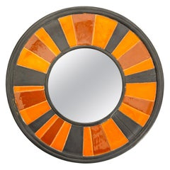 1960s Italian Ceramic Framed Mirror