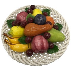 1960s Italian Ceramic Fruit Basket Sculpture
