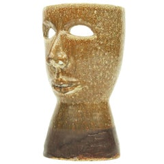 1960s Italian Ceramic Head Face Table Lamp Mask Sculpture