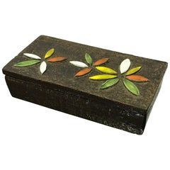 1960s Italian Ceramic Lidded Box with Flower Relief by Bitossi for Raymor