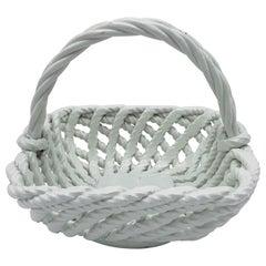 1960s Italian Ceramic Rope Basket Candy Dish