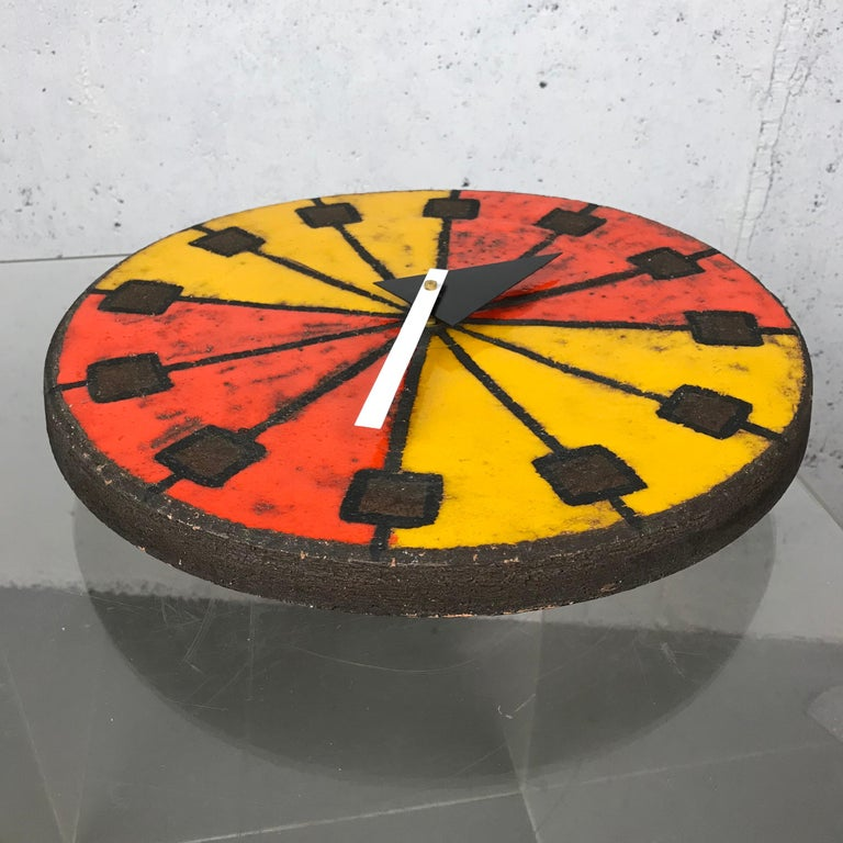 1960s Italian Ceramic Wall Clock by Bitossi & George Nelson For Sale 5