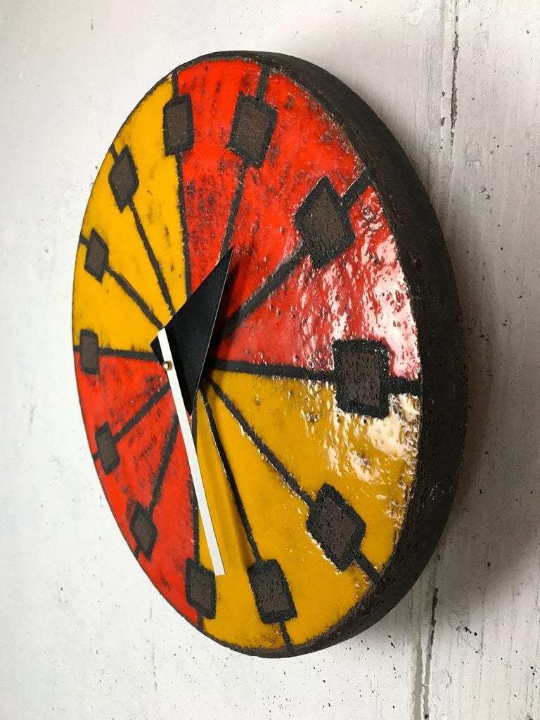 1960s Italian Ceramic Wall Clock by Bitossi & George Nelson For Sale 8