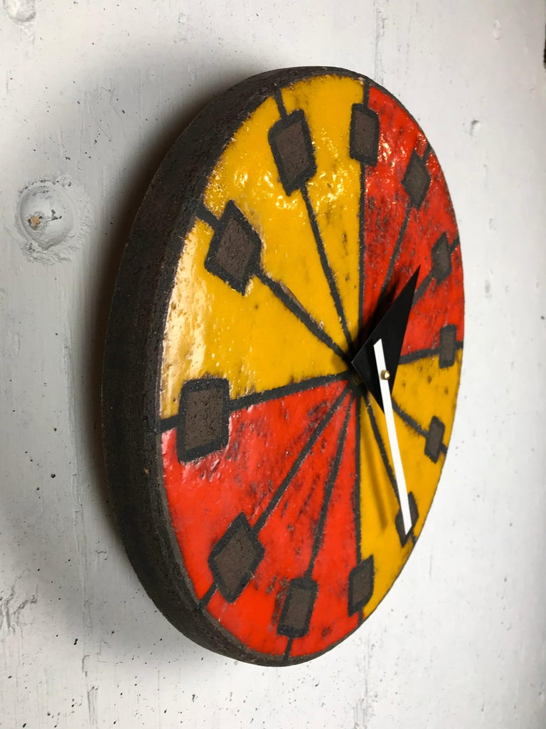 1960s Italian Ceramic Wall Clock by Bitossi & George Nelson For Sale 9