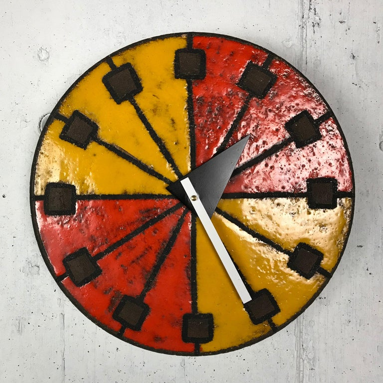 Mid-20th Century 1960s Italian Ceramic Wall Clock by Bitossi & George Nelson For Sale