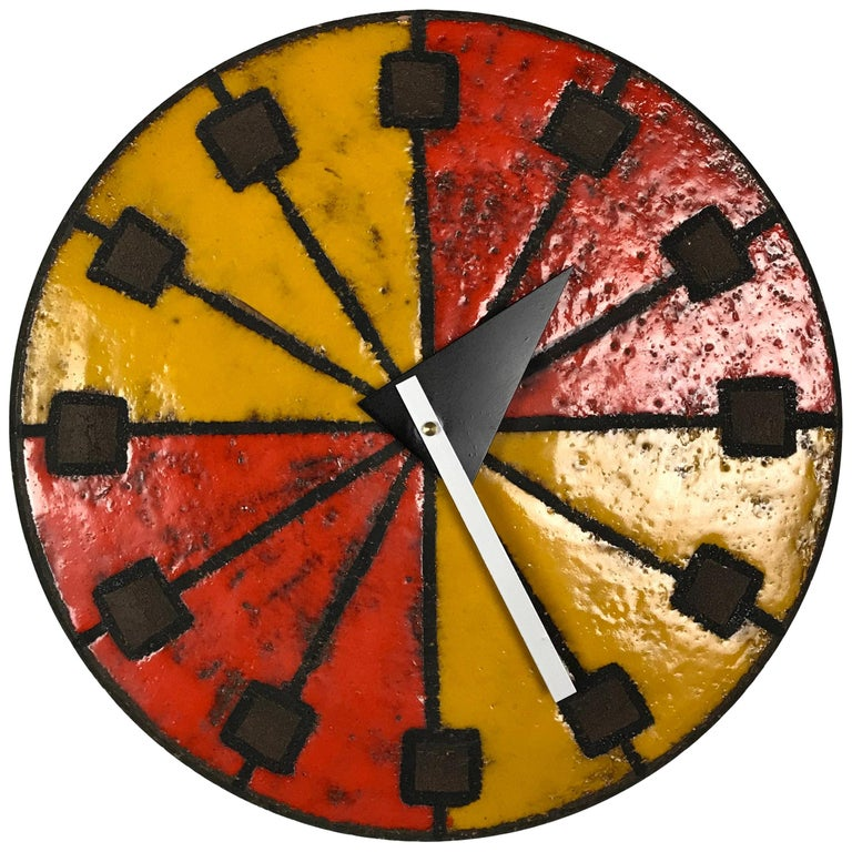 1960s Italian Ceramic Wall Clock by Bitossi & George Nelson For Sale