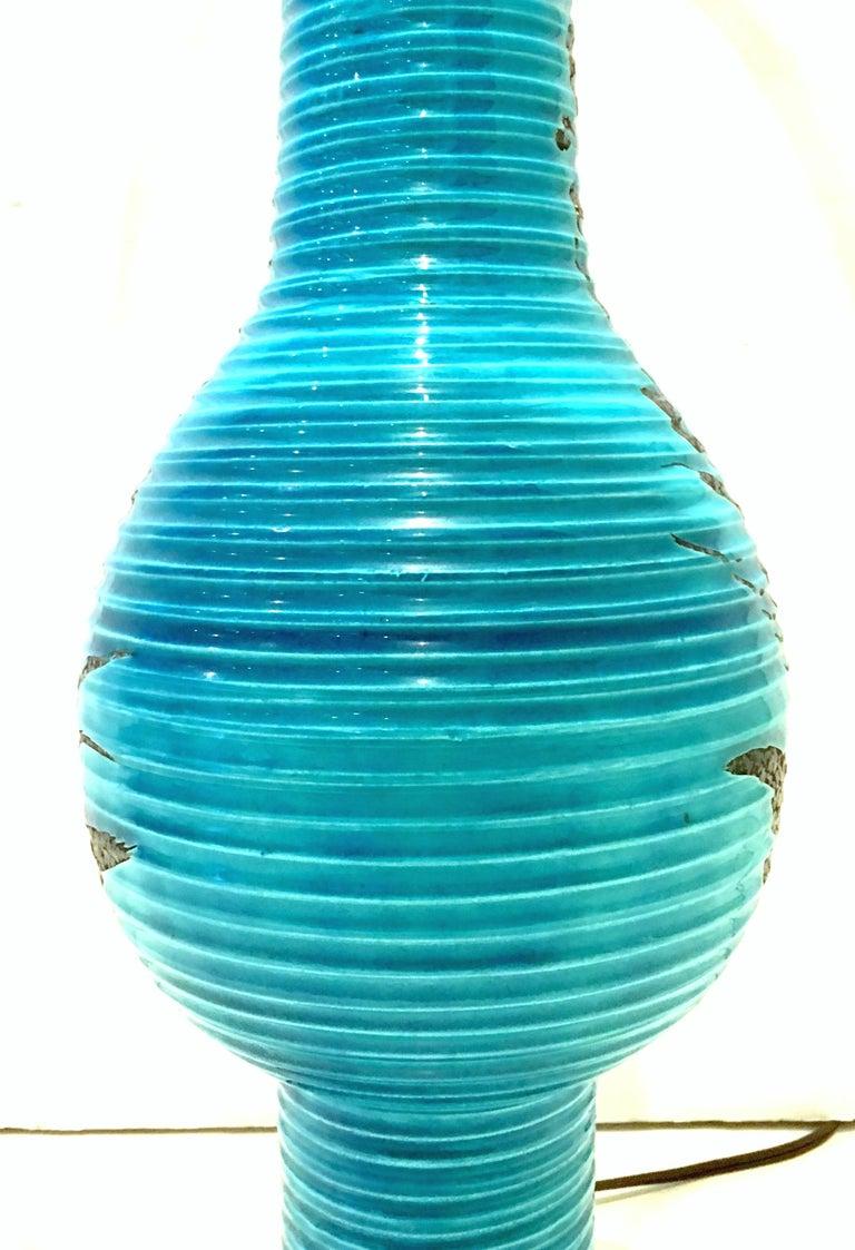 1960s Italian Cerulean Blue & Black Ceramic Glaze Pottery Lamp by, Bitossi For Sale 4