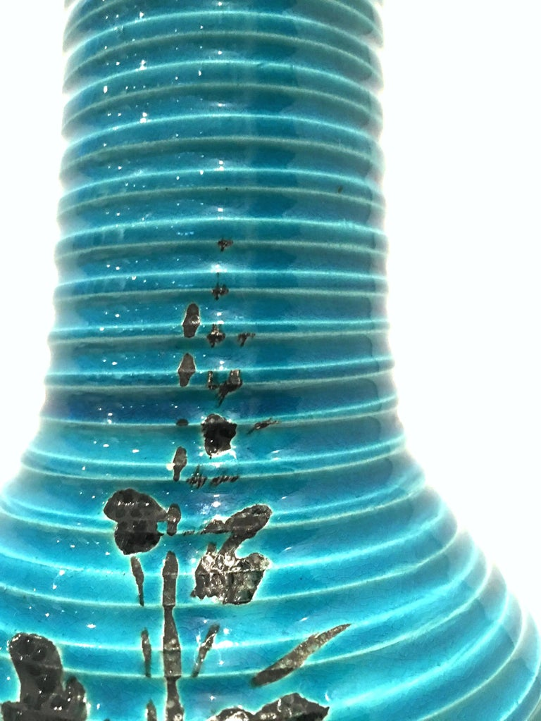1960s Italian Cerulean Blue & Black Ceramic Glaze Pottery Lamp by, Bitossi For Sale 5