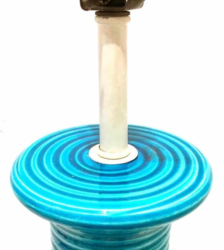 1960s Italian Cerulean Blue & Black Ceramic Glaze Pottery Lamp by, Bitossi For Sale 6
