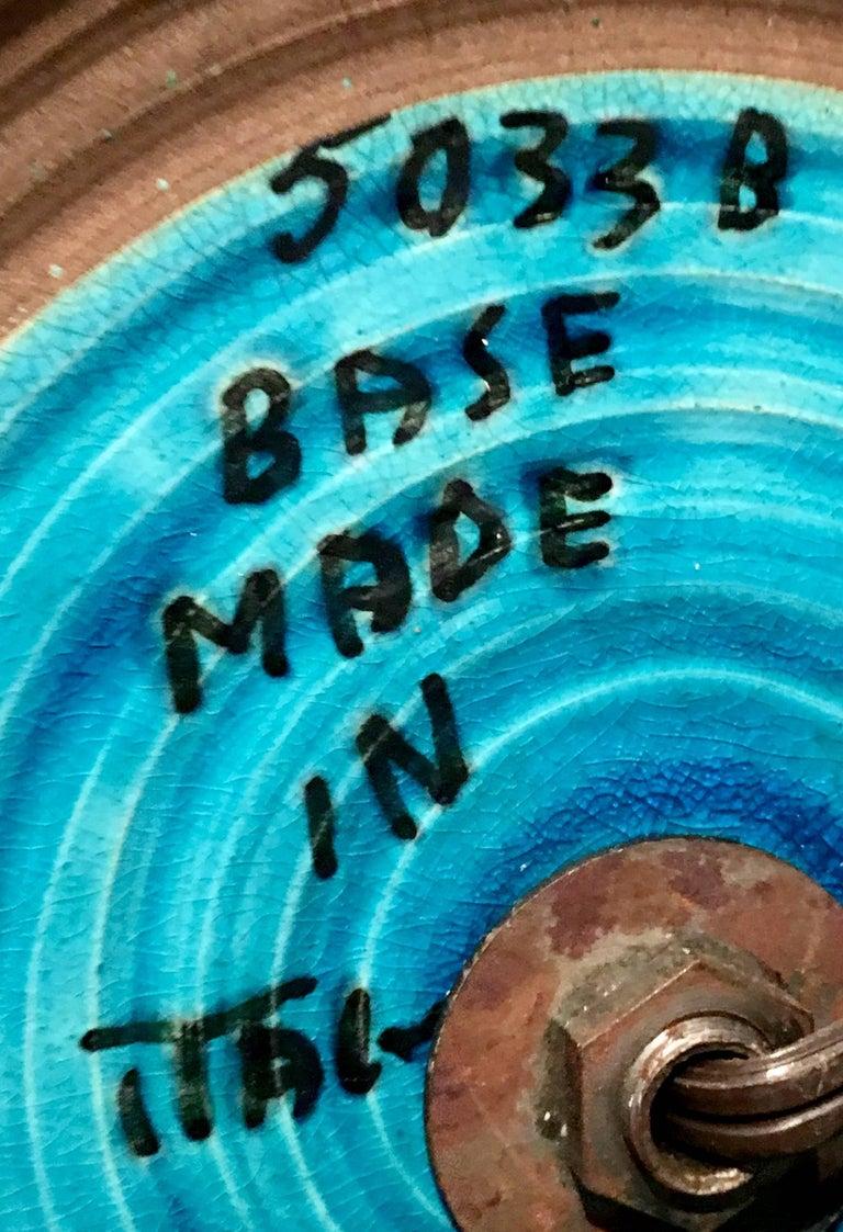 1960s Italian Cerulean Blue & Black Ceramic Glaze Pottery Lamp by, Bitossi For Sale 9