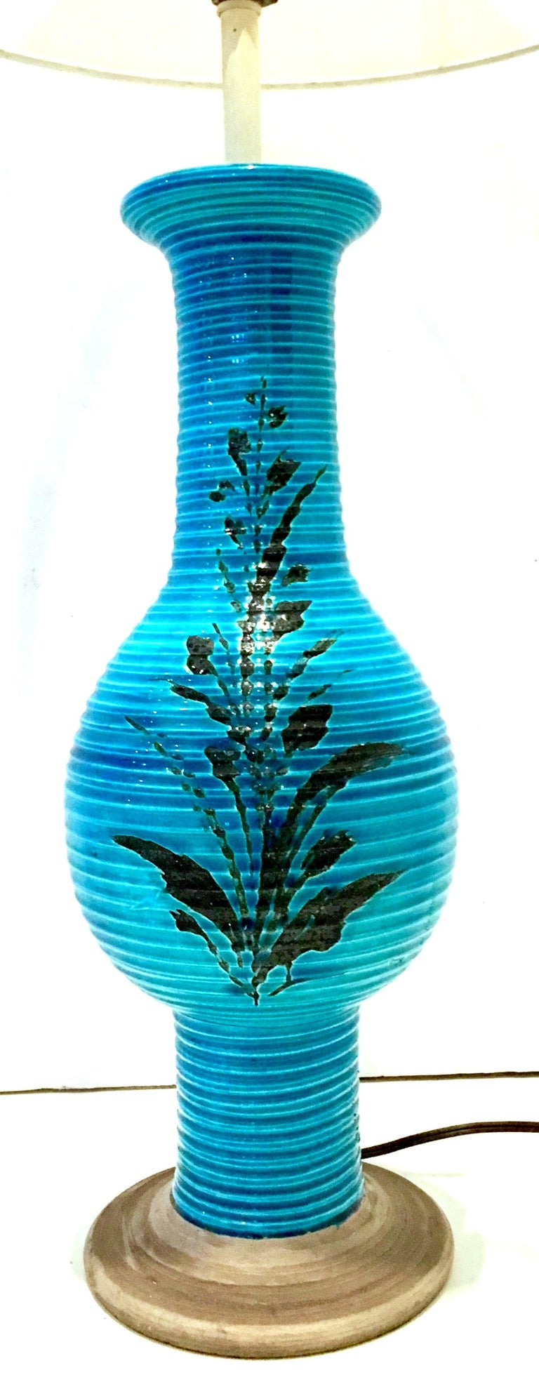 Mid-Century Modern 1960s Italian Cerulean Blue & Black Ceramic Glaze Pottery Lamp by, Bitossi For Sale