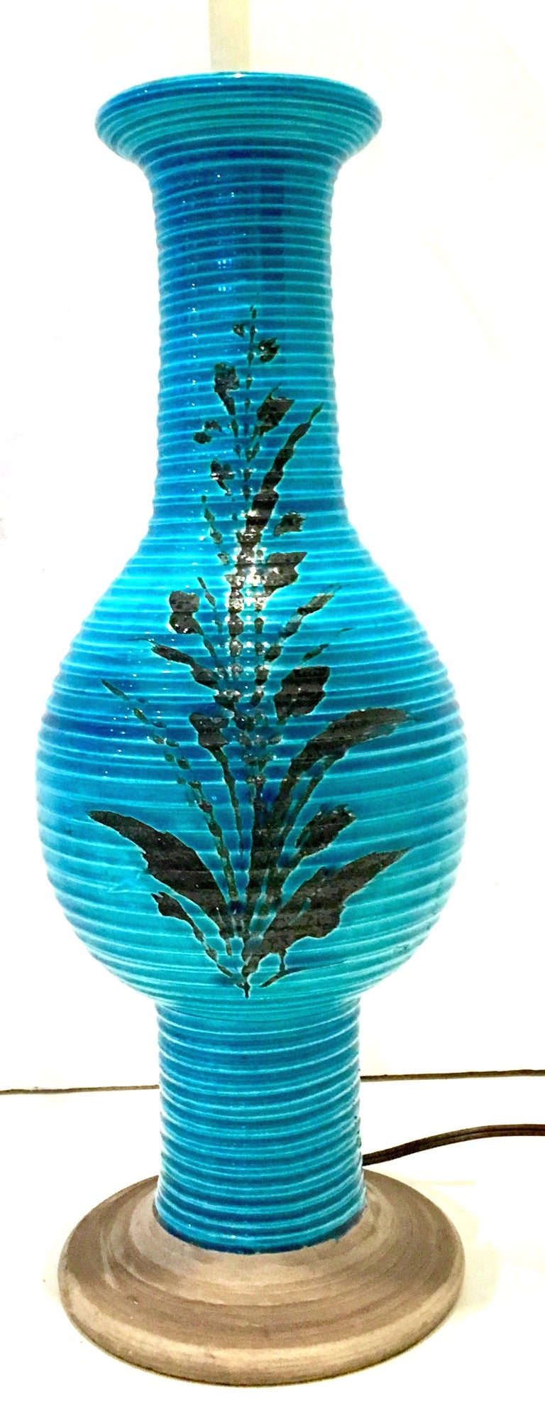 Hand-Painted 1960s Italian Cerulean Blue & Black Ceramic Glaze Pottery Lamp by, Bitossi For Sale