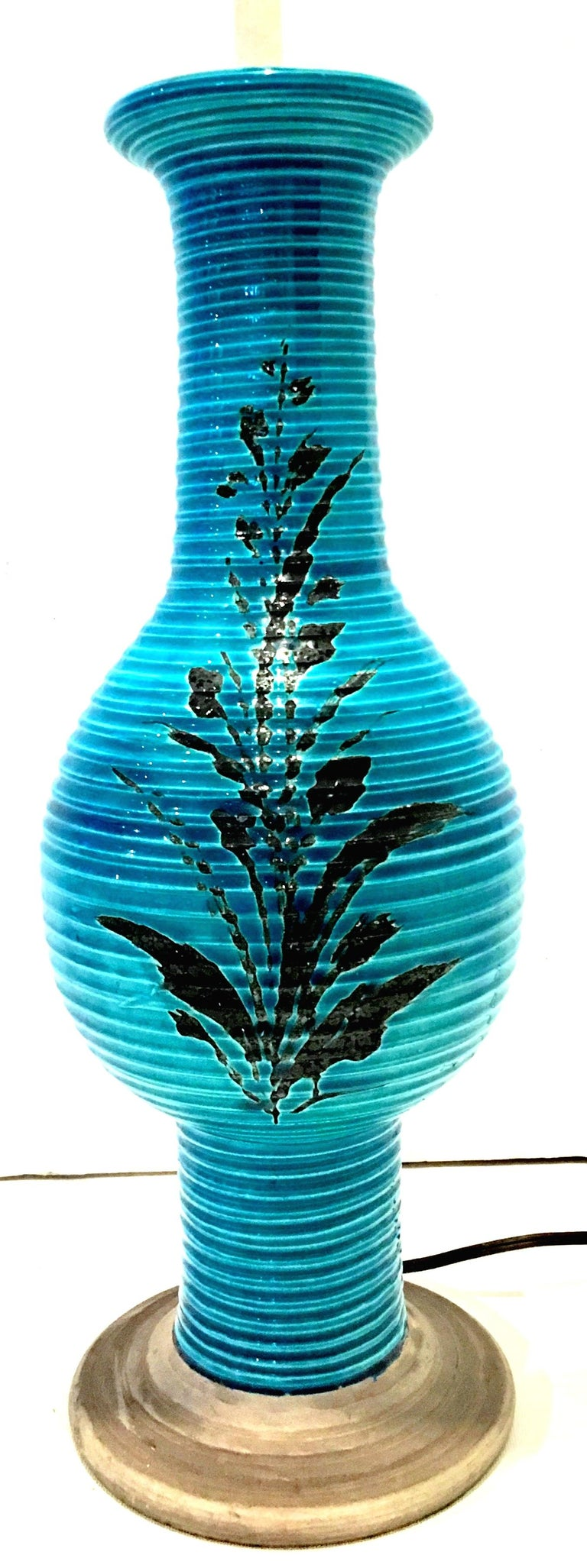 1960s Italian Cerulean Blue & Black Ceramic Glaze Pottery Lamp by, Bitossi In Good Condition For Sale In West Palm Beach, FL