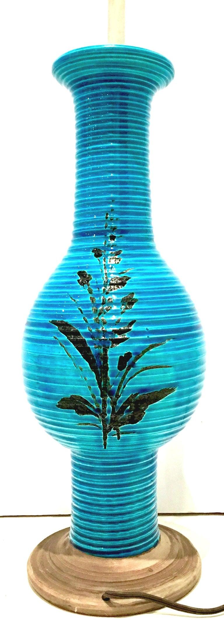 20th Century 1960s Italian Cerulean Blue & Black Ceramic Glaze Pottery Lamp by, Bitossi For Sale