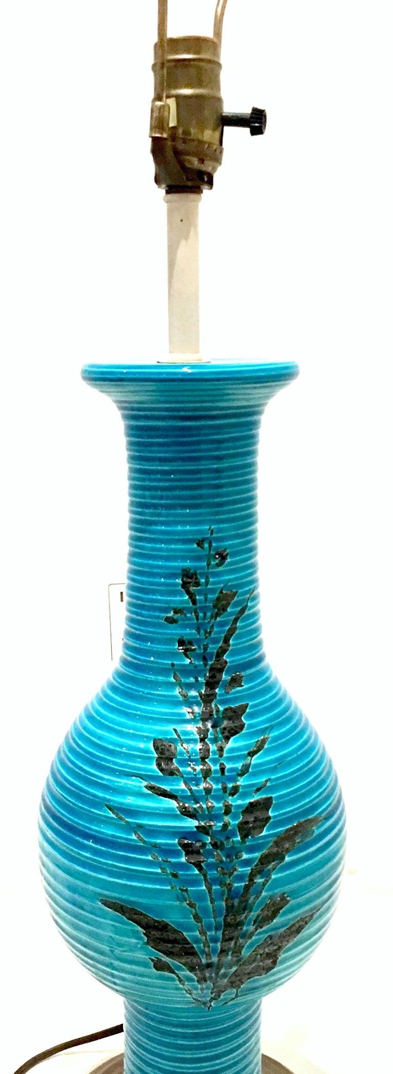 1960s Italian Cerulean Blue & Black Ceramic Glaze Pottery Lamp by, Bitossi For Sale 1