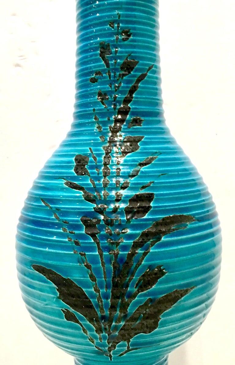 1960s Italian Cerulean Blue & Black Ceramic Glaze Pottery Lamp by, Bitossi For Sale 2