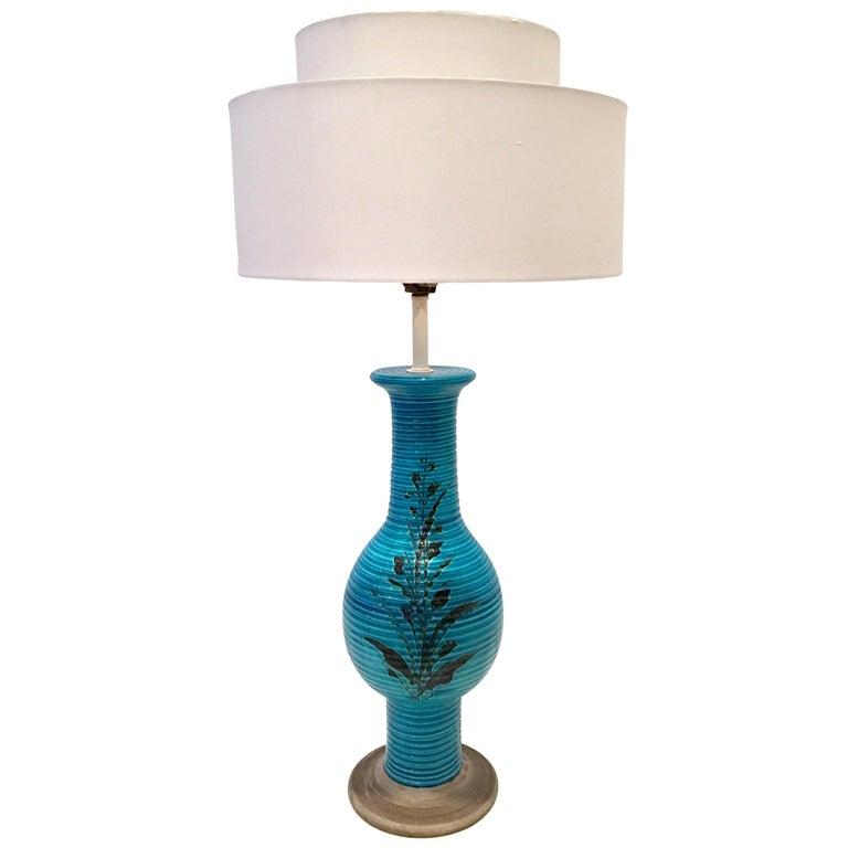 1960s Italian Cerulean Blue & Black Ceramic Glaze Pottery Lamp by, Bitossi For Sale