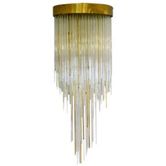 1960s Italian Chandelier Glass and Brass Flushmount Cascading Like a Waterfall