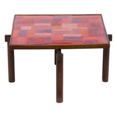 1960s Italian Coffee Table Enamelled Top Wooden Legs by Siva Poggibonsi