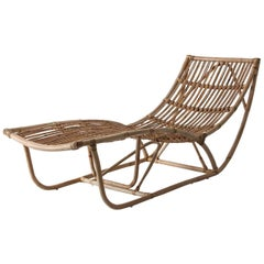 1960s Italian Design Style Rattan Daybed or Chaise Lounge